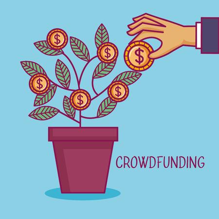 crowdfunding hand pot boom munten dollar zakelijke vectorillustratie Stock Illustratie