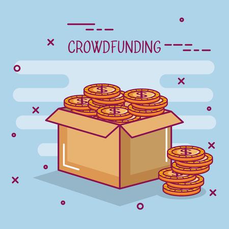 クラウドファンディング ビジネス協力ボックス コイン ドルお金ベクトル図