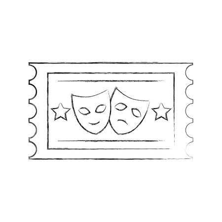 postal seal with theater masks isolated icon vector illustration design