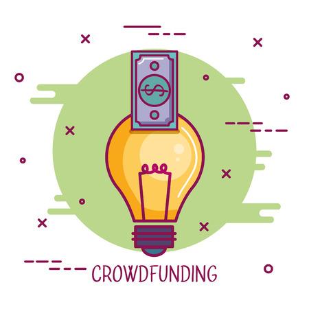 crowdfunding idee bankbiljet zakelijke samenwerking vectorillustratie Stock Illustratie