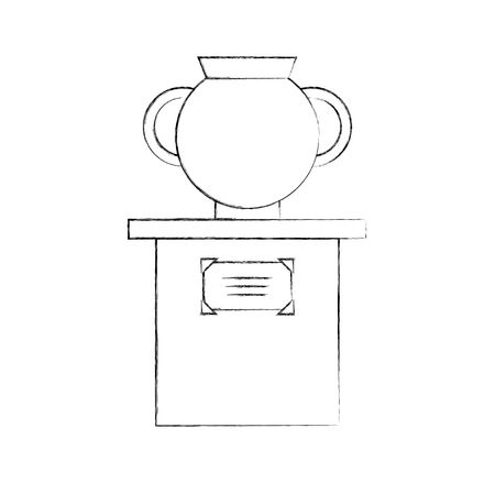 Old museum vase on column vector illustration design Stock fotó - 83950090