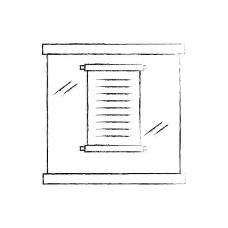 Museum papyrus in urn glas vector illustratie ontwerp