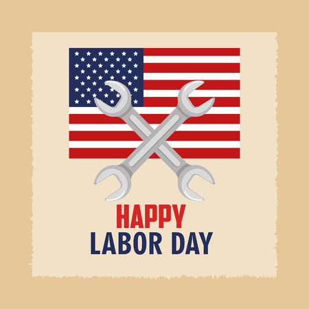 happy labor day flag united states and spanner concept vector illustration