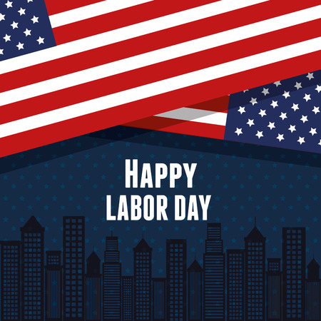 happy labor day united states flag with city background vector illustration 向量圖像