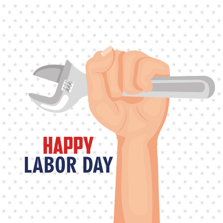 happy labor day hand worker holding tool poster vector illustration Illustration