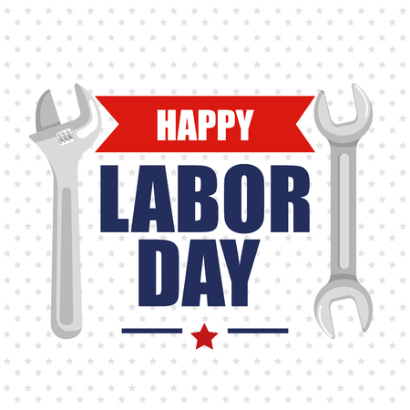 happy labor day poster lettering and tools symbol vector illustration Çizim
