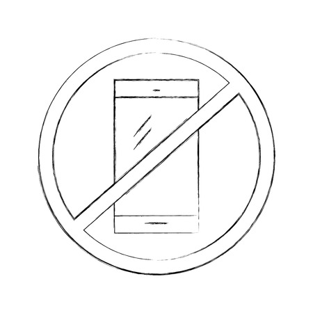 touch screen phone: Forbidden to use cell phones vector illustration design Illustration