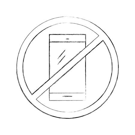 Interdit à utiliser les téléphones cellulaires vecteur illustration design Banque d'images - 83950097