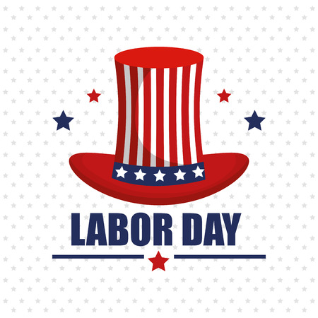 labor day top hat with flag usa and stars background vector illustration
