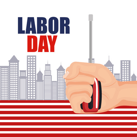 labor day worker hand with screwdriver with city background vector illustration