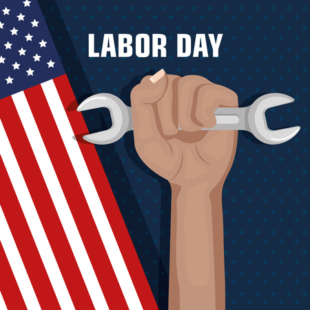 labor day hand fist raised and tool concept vector illustration