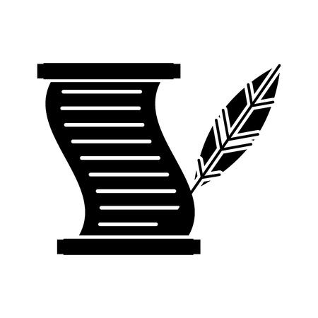 Museum papyrus met veer vector illustratie ontwerp