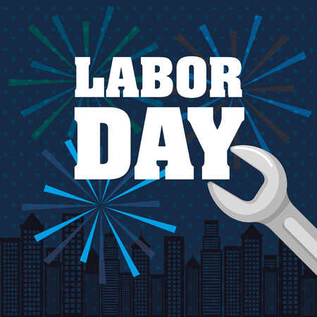 labor day lettering with tool and fireworks vector illustration