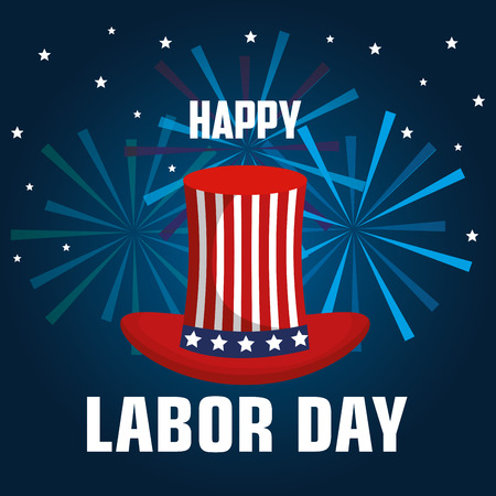 happy labor day top hat with flag united states and fireworks celebration vector illustration Illustration