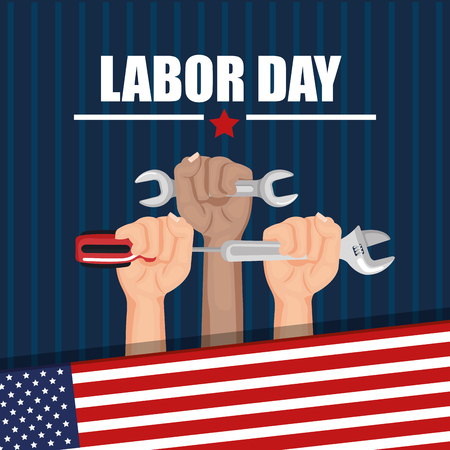 labor day hands with fists raised tools american flag vector illustration