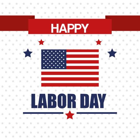 happy labor day national patriotic celebration stars background vector illustration