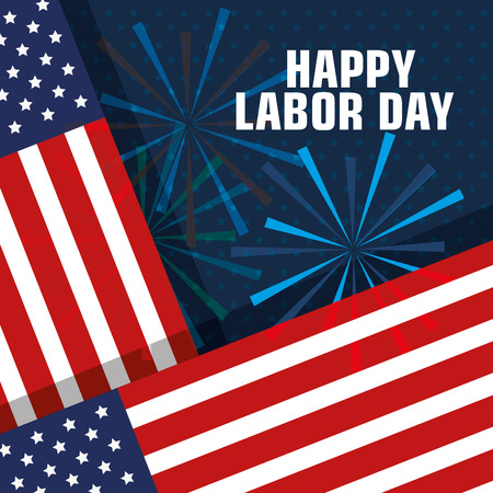 happy labor day united states of america flag with fireworks vector illustration