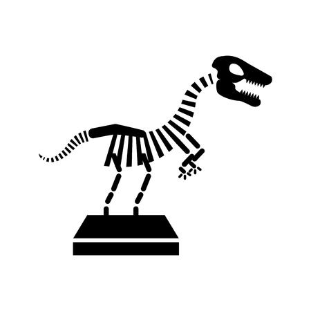 Museum dinosaur skeleton icon vector illustration design
