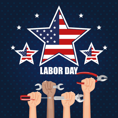 labor day hands with fists raised tools vector illustration Çizim