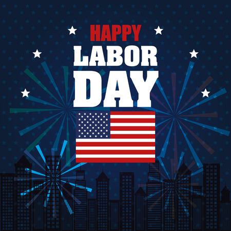 happy labor day national patriotic celebration vector illustration