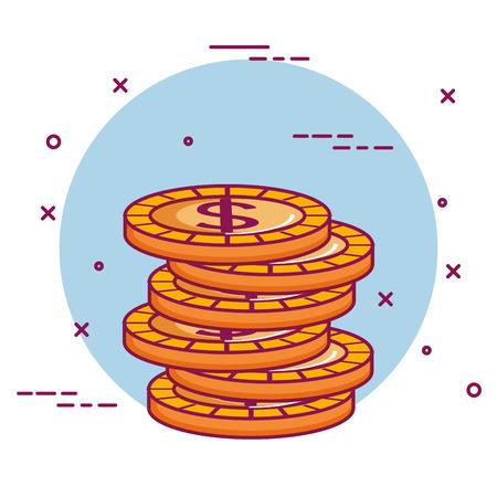 crowdfunding stack dollar coins money vector illustration