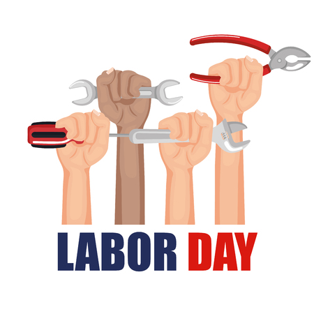 labor day hands with fists raised tools vector illustration Stok Fotoğraf - 83948472