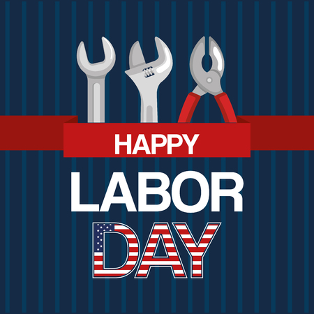 happy labor day tools work spanner and pliers ribbon vector illustration