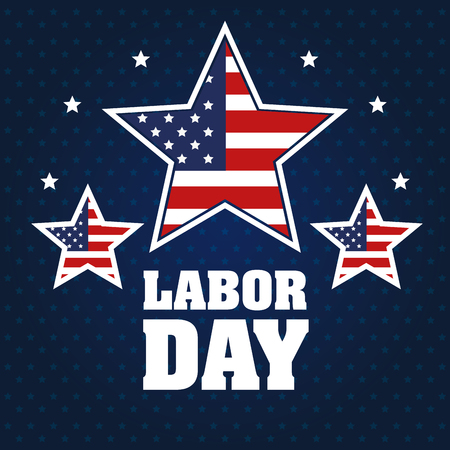 labor day stars with united states flag blue background vector illustration Illustration