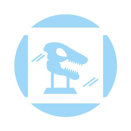 Museo esqueleto de dinosaurio en vidrio de urna diseño de ilustración vectorial Foto de archivo - 83948237
