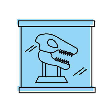 Museum dinosaur skeleton in urn glass vector illustration design Illustration