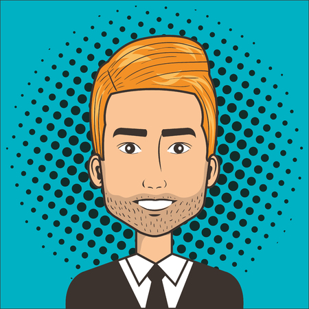 man face in a cartoon pop art comic style vector illustration