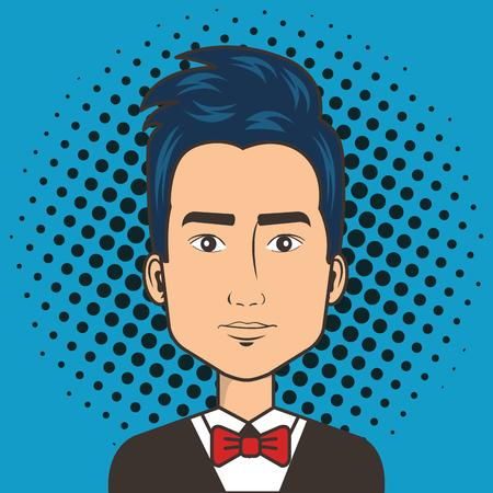 man face in a cartoon pop art comic style vector illustration