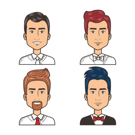 portrait happy men dressed tie and bow tie vector illustration