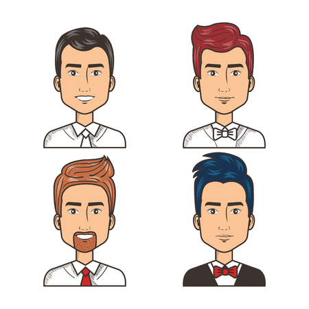 portrait happy men dressed tie and bow tie vector illustration