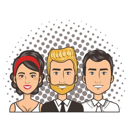 three men and woman portrait pop art comic style vector illustration Illustration