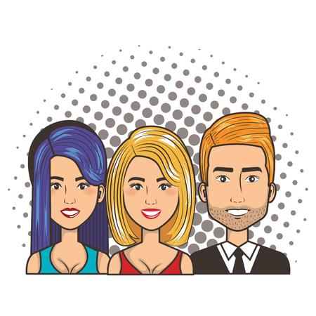 three women and man portrait pop art comic style vector illustration