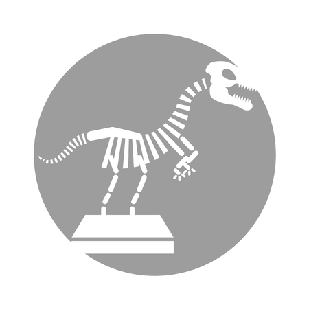 Museum dinosaur skeleton icon vector illustration design