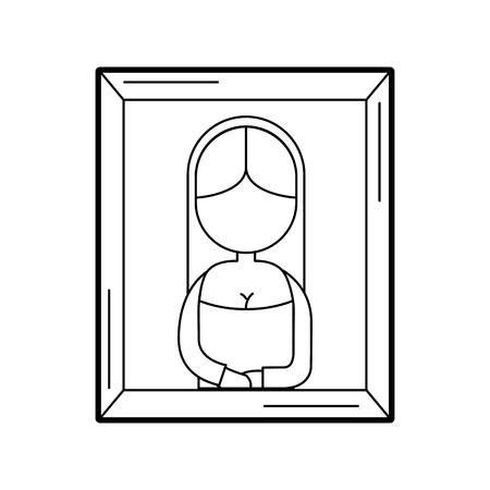 アンティーク女性画像アイコン ベクトル イラスト デザイン  イラスト・ベクター素材