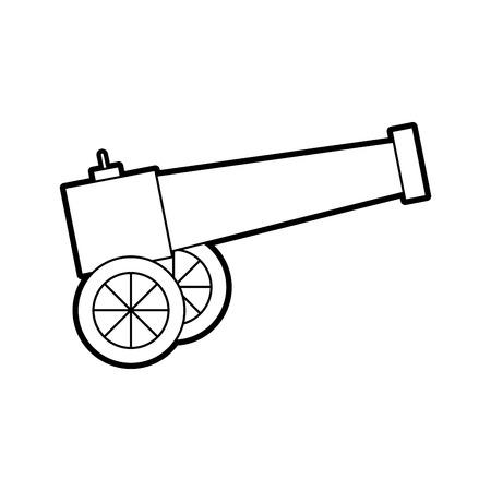 오래 된 캐논 아이콘 벡터 일러스트 디자인을 고립 된