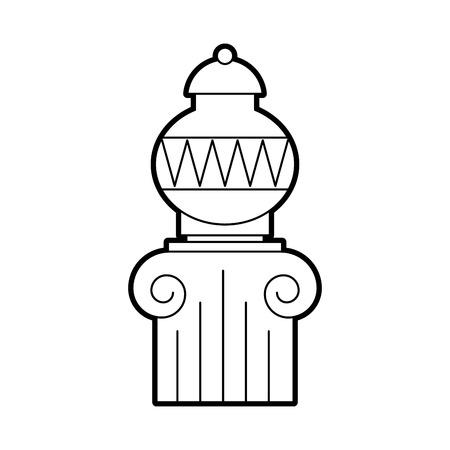Oude museumvaas op ontwerp van de kolom het vectorillustratie Stock Illustratie