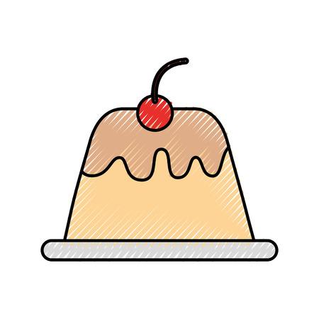 zoete pudding geïsoleerd pictogram vector illustratie ontwerp