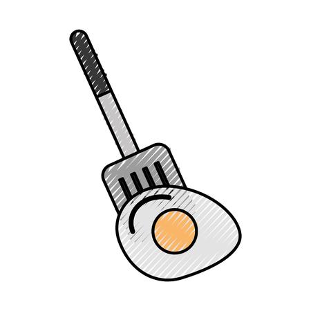 spatule with fried egg vector illustration design