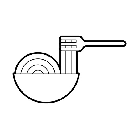 Forcella con progettazione dell'illustrazione di vettore dell'icona isolata spaghetti deliziosi Archivio Fotografico - 83950717