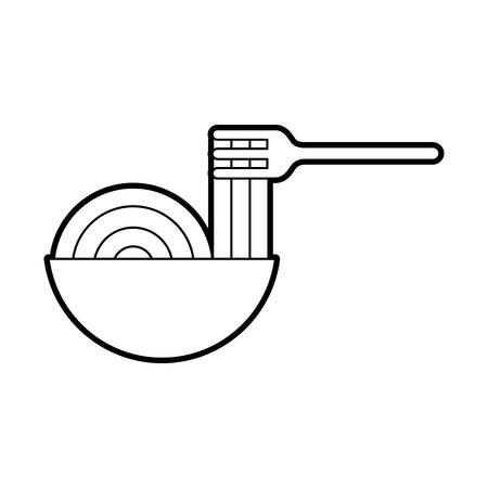 Gabel mit köstlichen Spaghetti isoliert Symbol Vektor-Illustration , Design , Standard-Bild - 83950717