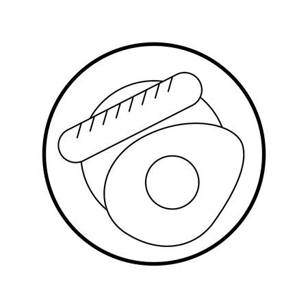 sausage with fried egg vector illustration design Иллюстрация