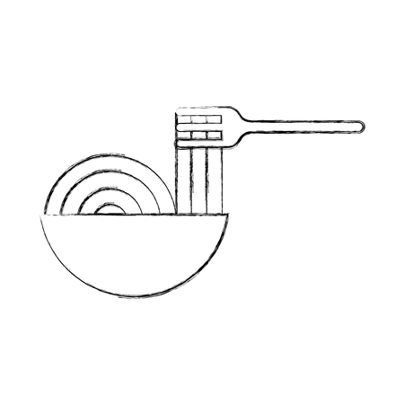 fork with Delicious spaghetti isolated icon vector illustration design