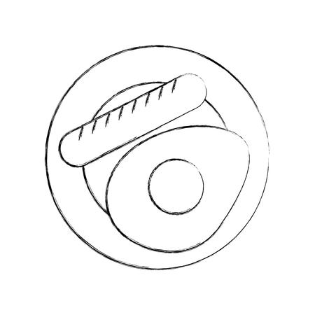 sausage with fried egg vector illustration design Illustration