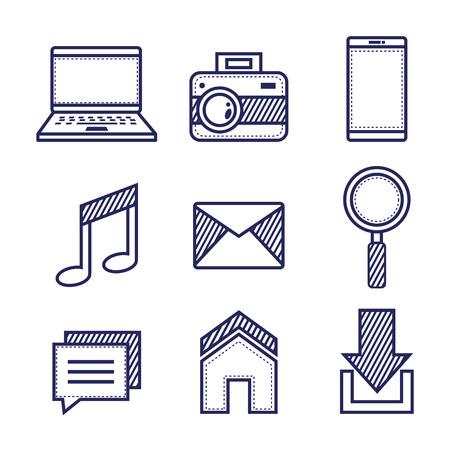 applications web icons set media items vector illustration