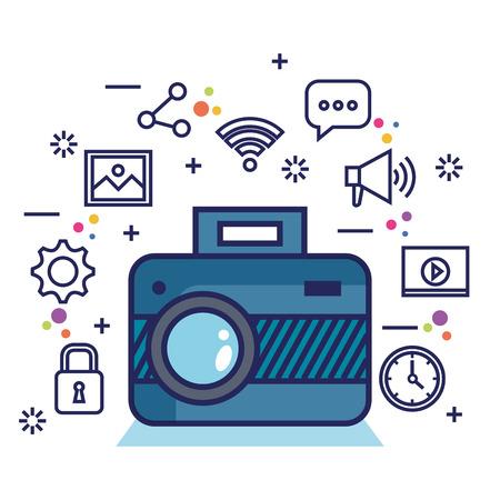 photo camera network multimedia web app icons vector illustration