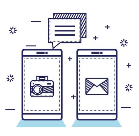 Social media technology digital smartphone vector illustration